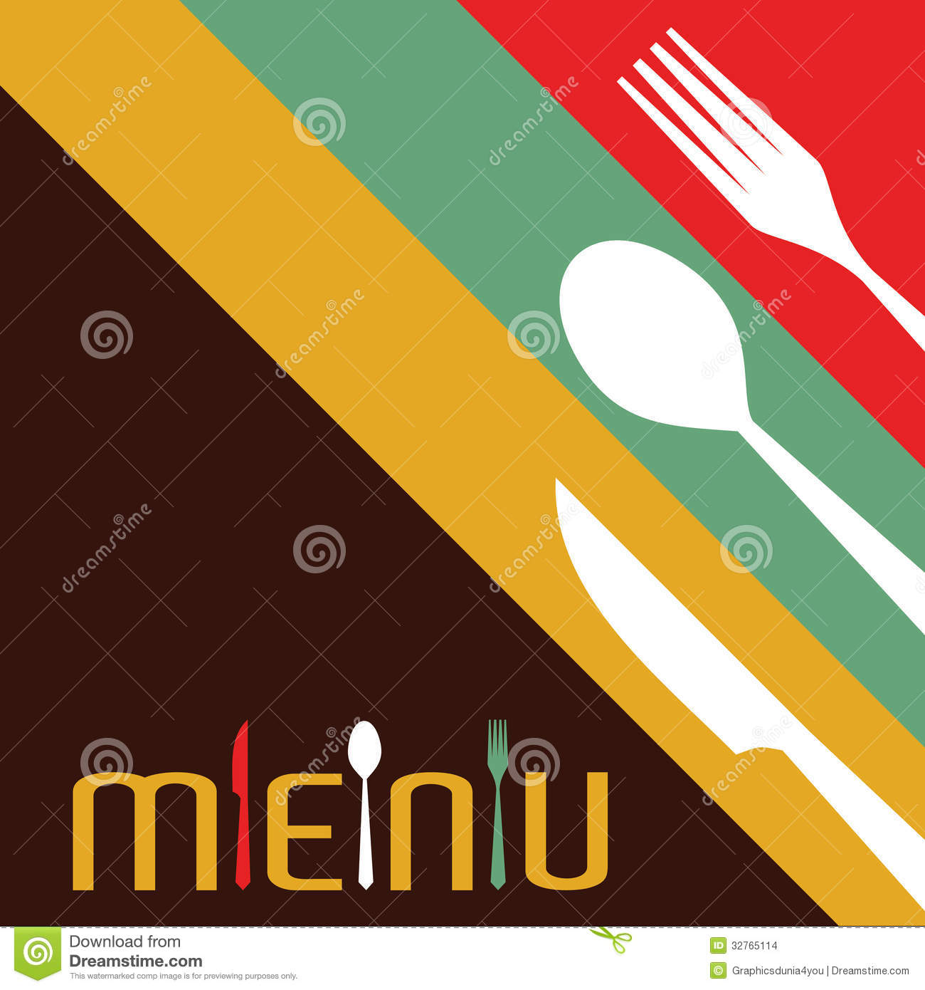 Template For Menu Card With Cutlery Stock Images Image