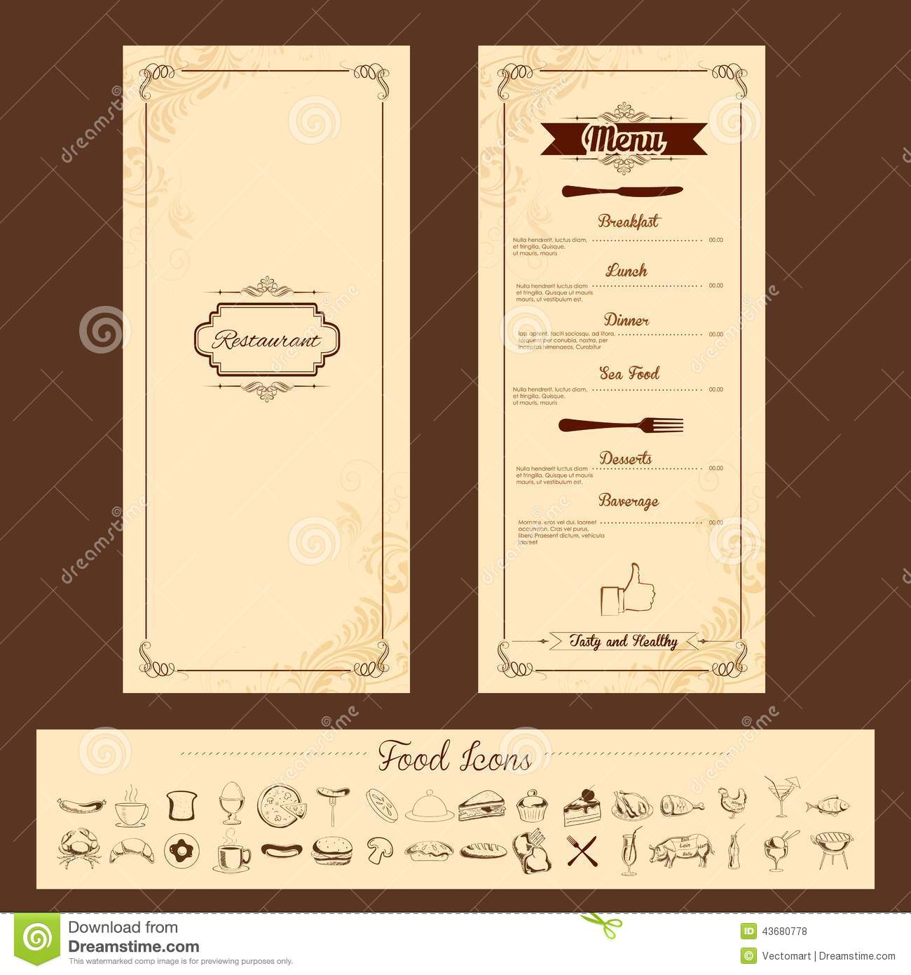 Template for menu card stock vector image 43680778 for Restaurant layout templates