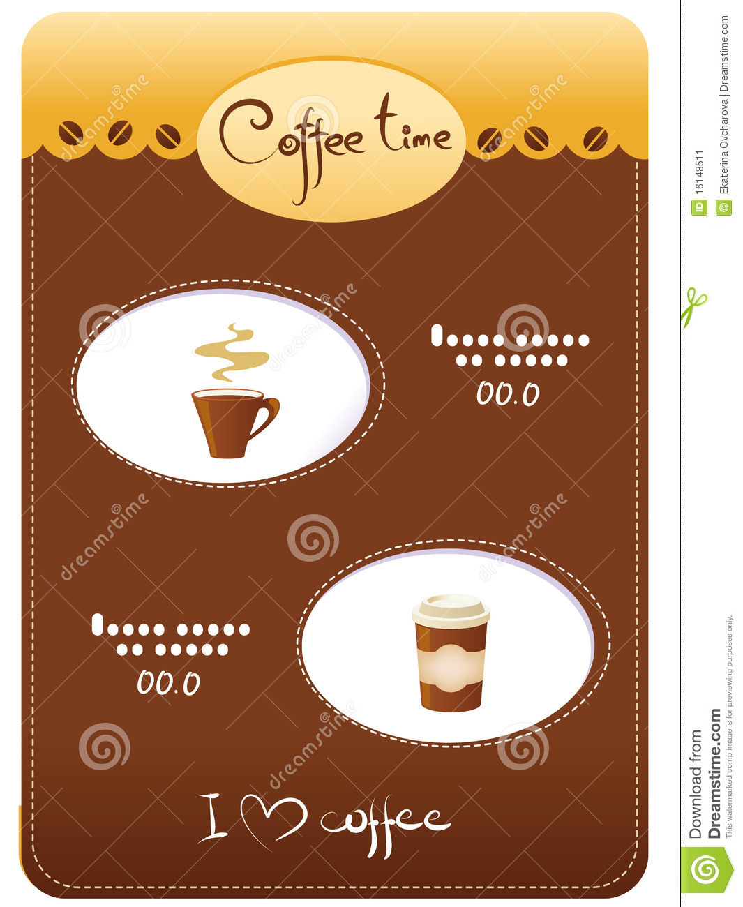 Template menu of coffee stock illustration image of for Coffee price list template