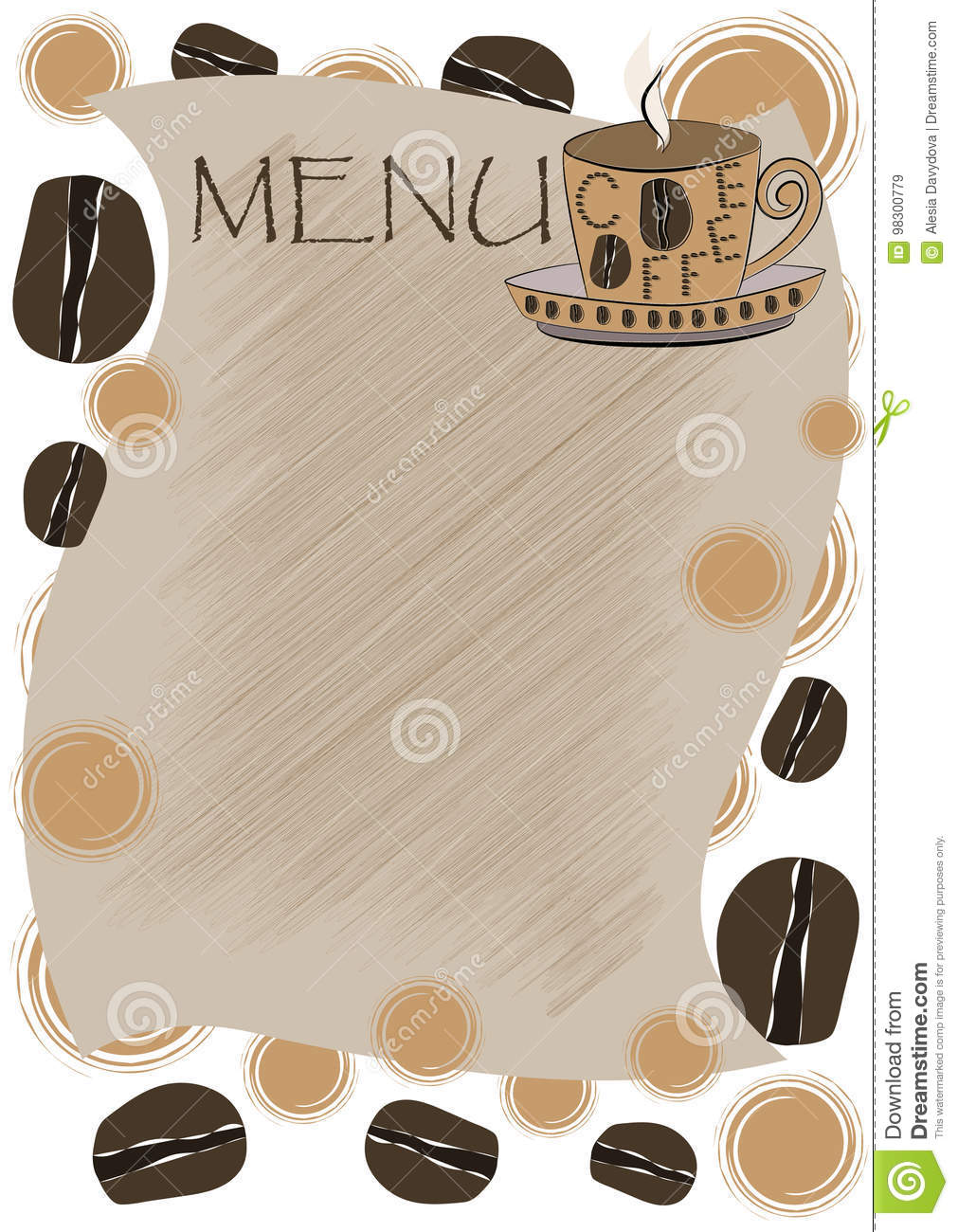 Template menu for a coffee house.Crack on a leaf background and coffee beans.
