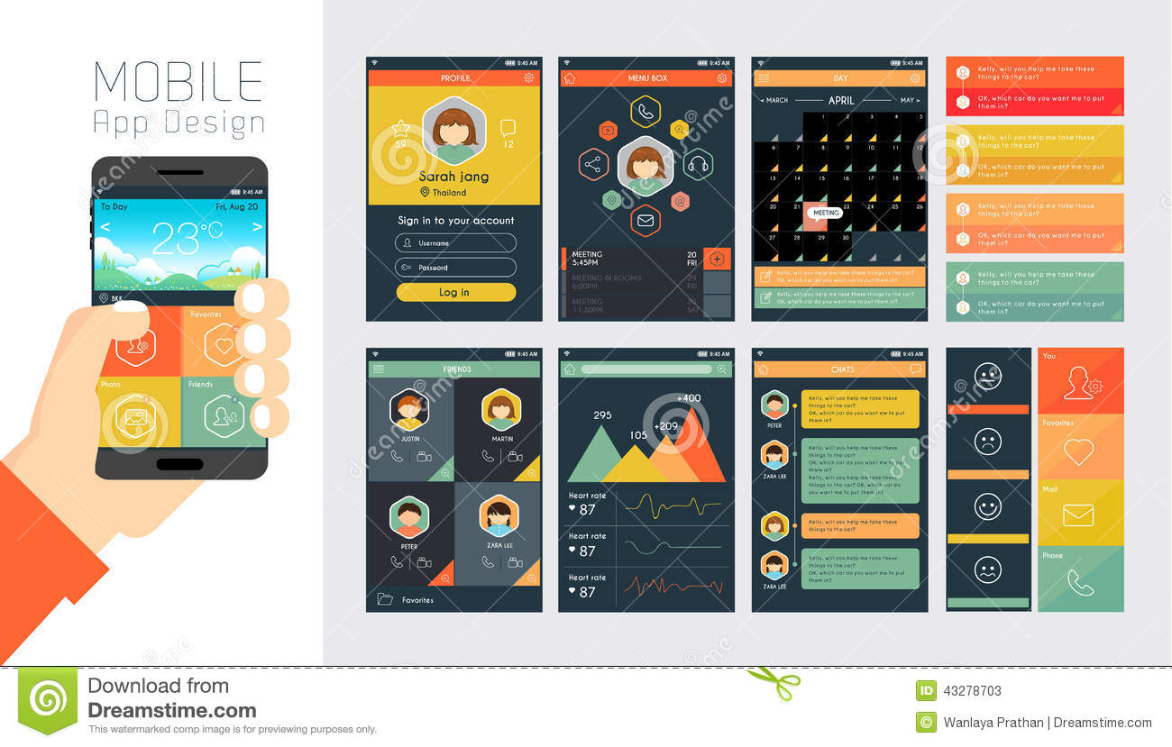 template for mobile app and website design stock vector