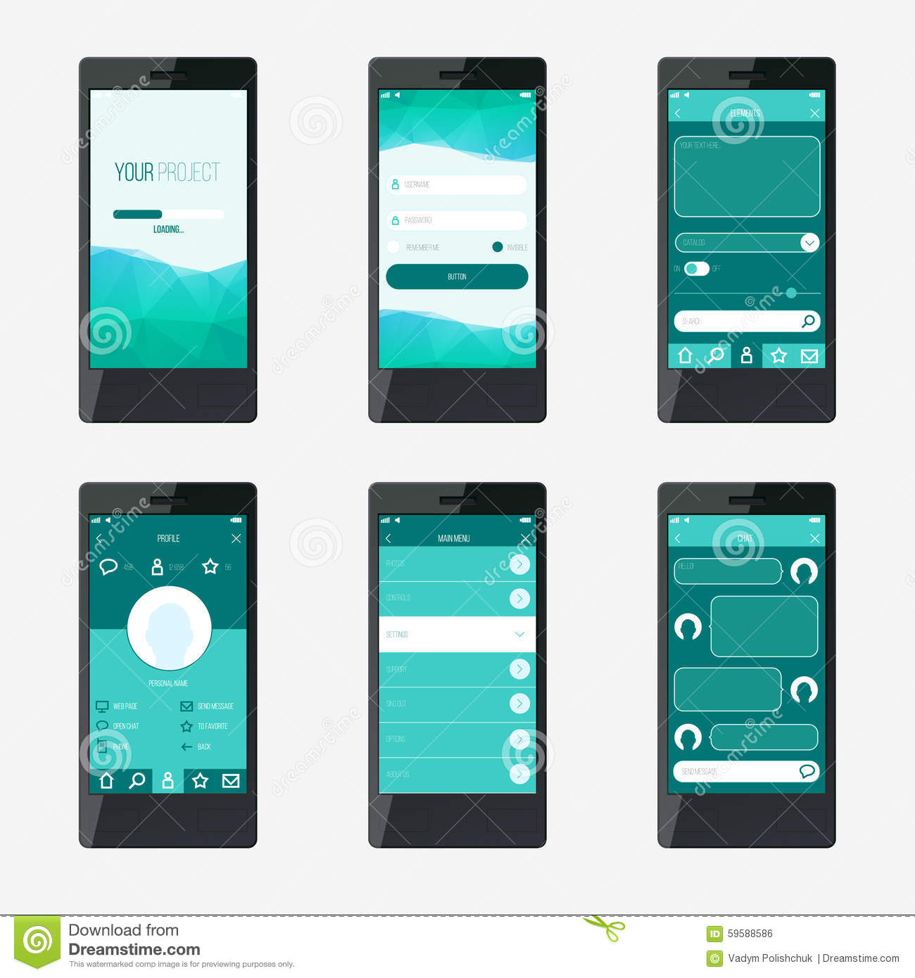 Template mobile application interface design stock vector for App templates free