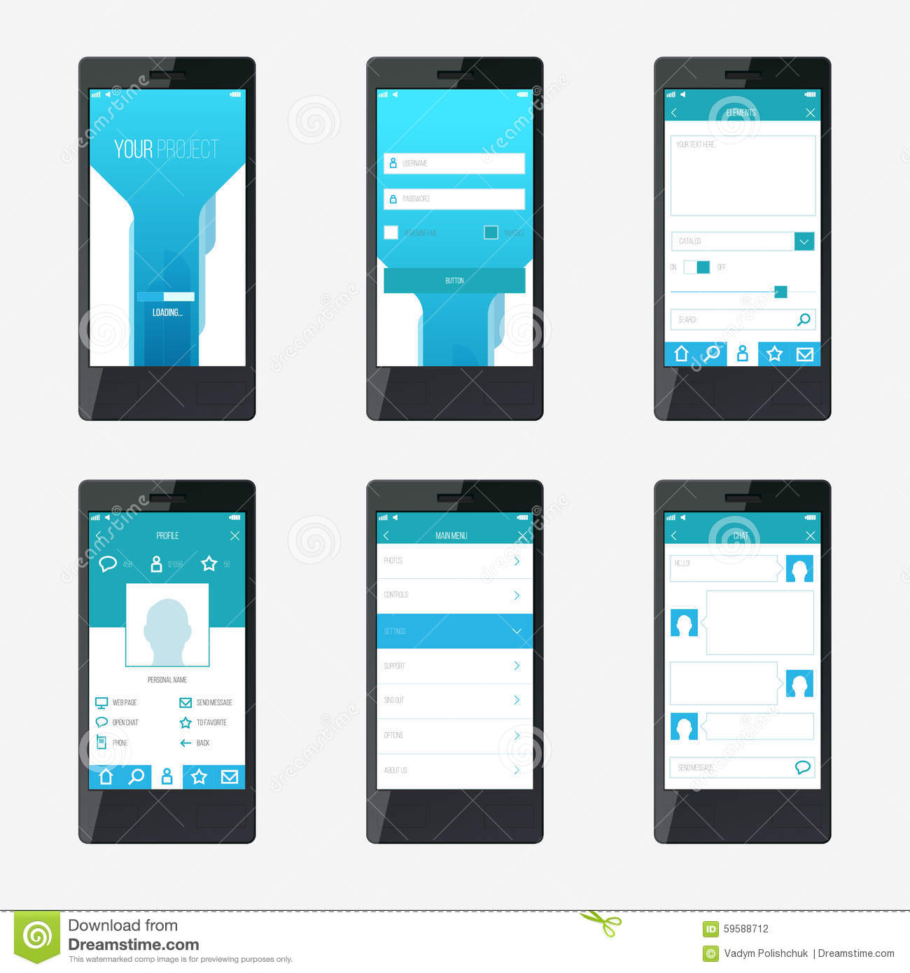 Template Mobile Application Interface Design Stock Vector - Mobile app design templates
