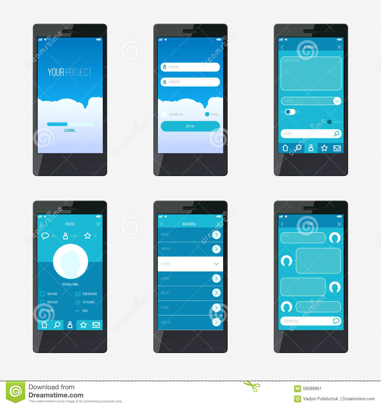 template mobile application interface design stock vector