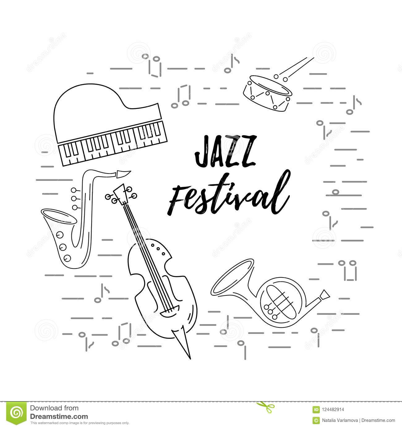 Vector Illustration With Saxophone Piano Violin French Horn Drum