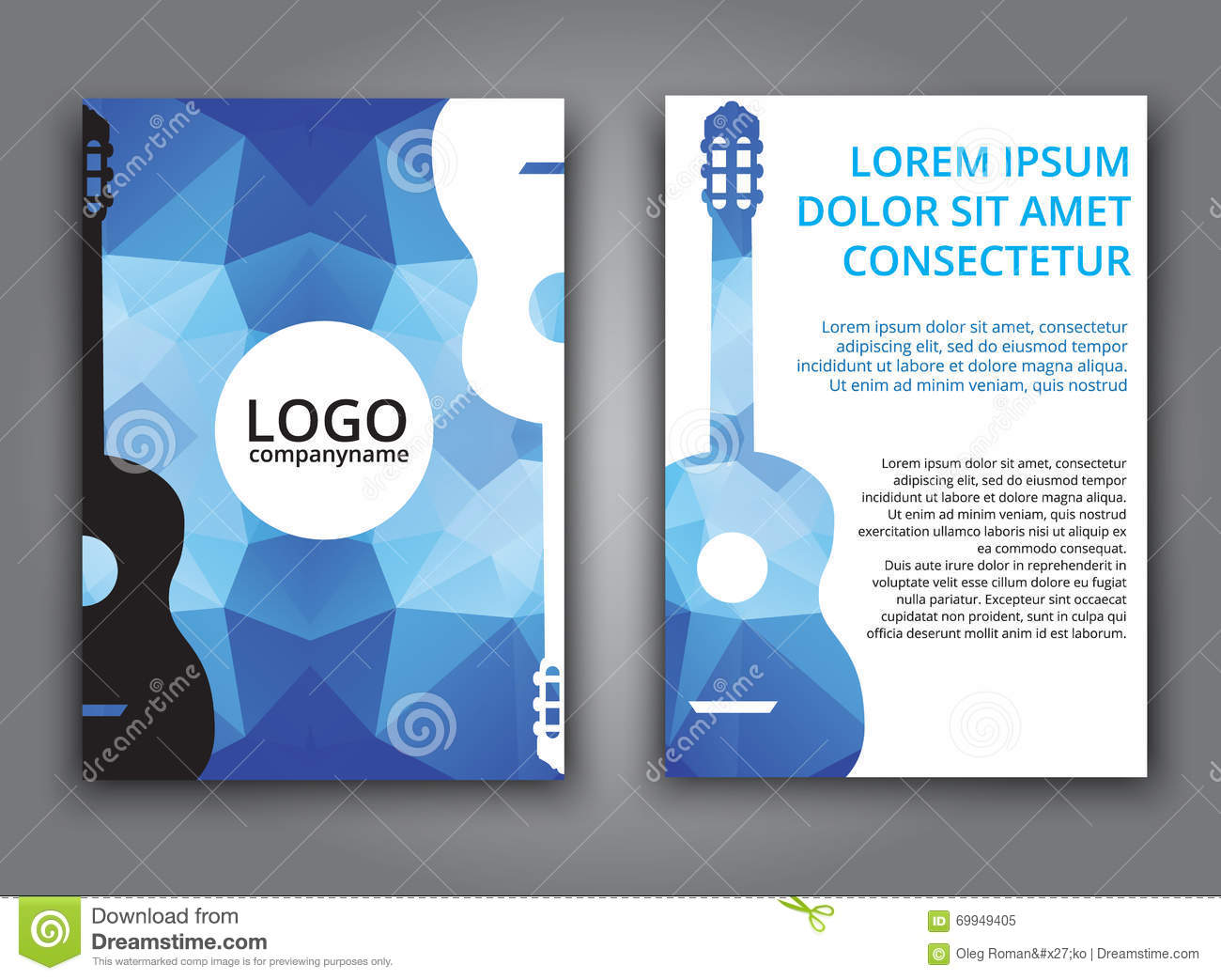 Template music polygonal brochure stock vector image for Music brochure templates