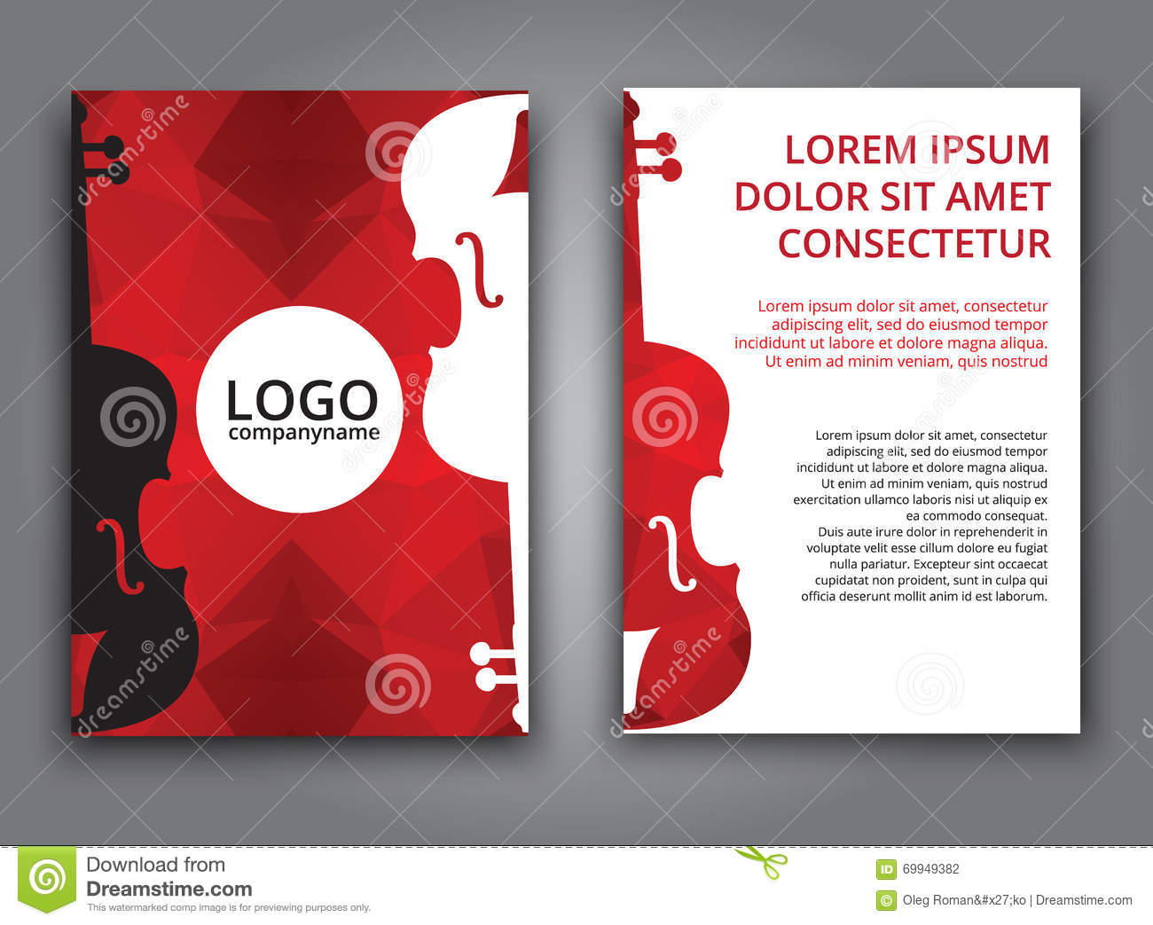 Template music polygonal brochure stock vector for Music brochure templates