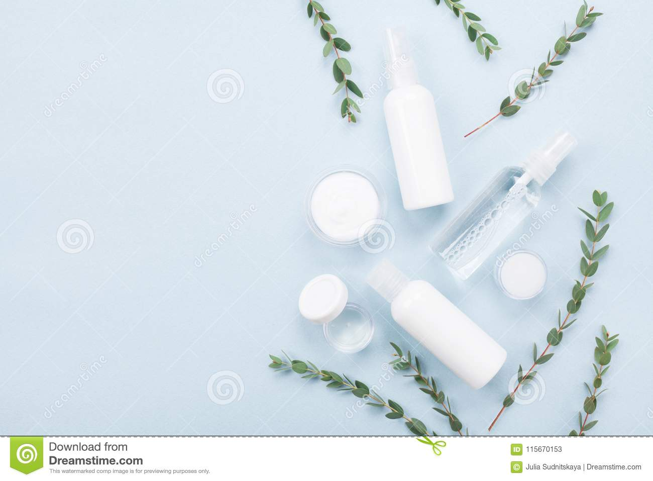 Template from natural cosmetic for skin care and beauty treatment with green eucalyptus leaf top view. Flat lay style.