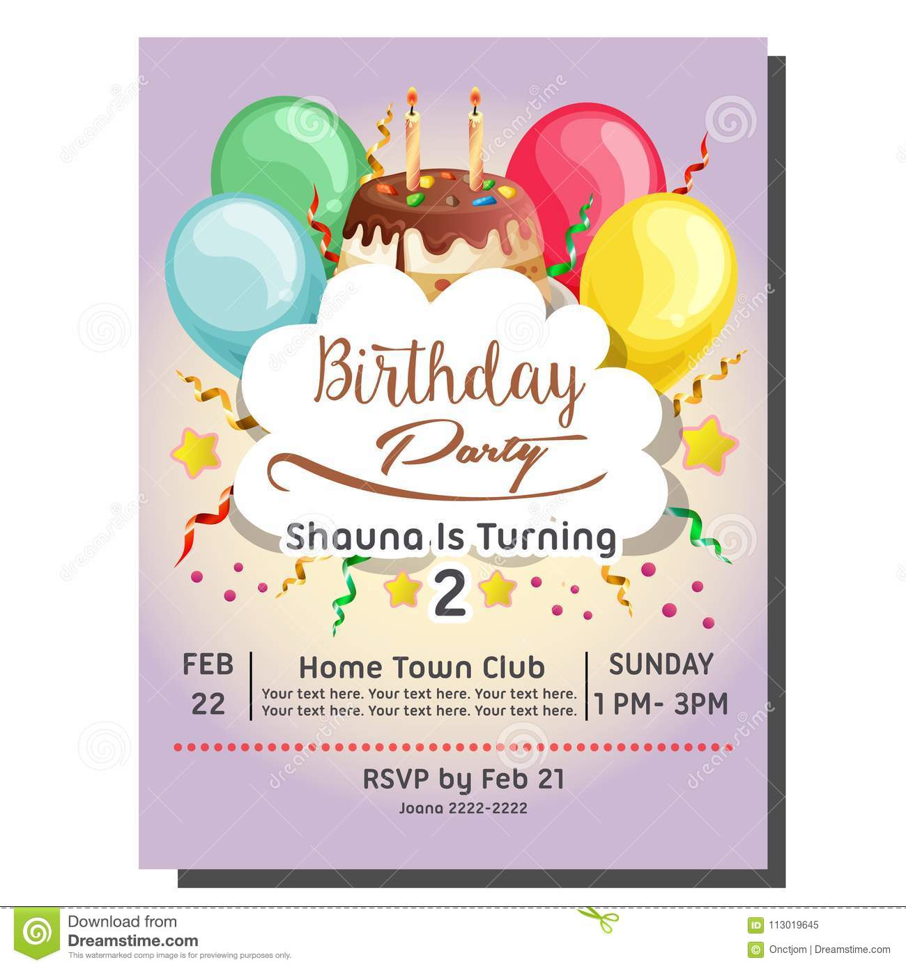 2nd Birthday Party Invitation Card With Balloon And Topping Tart