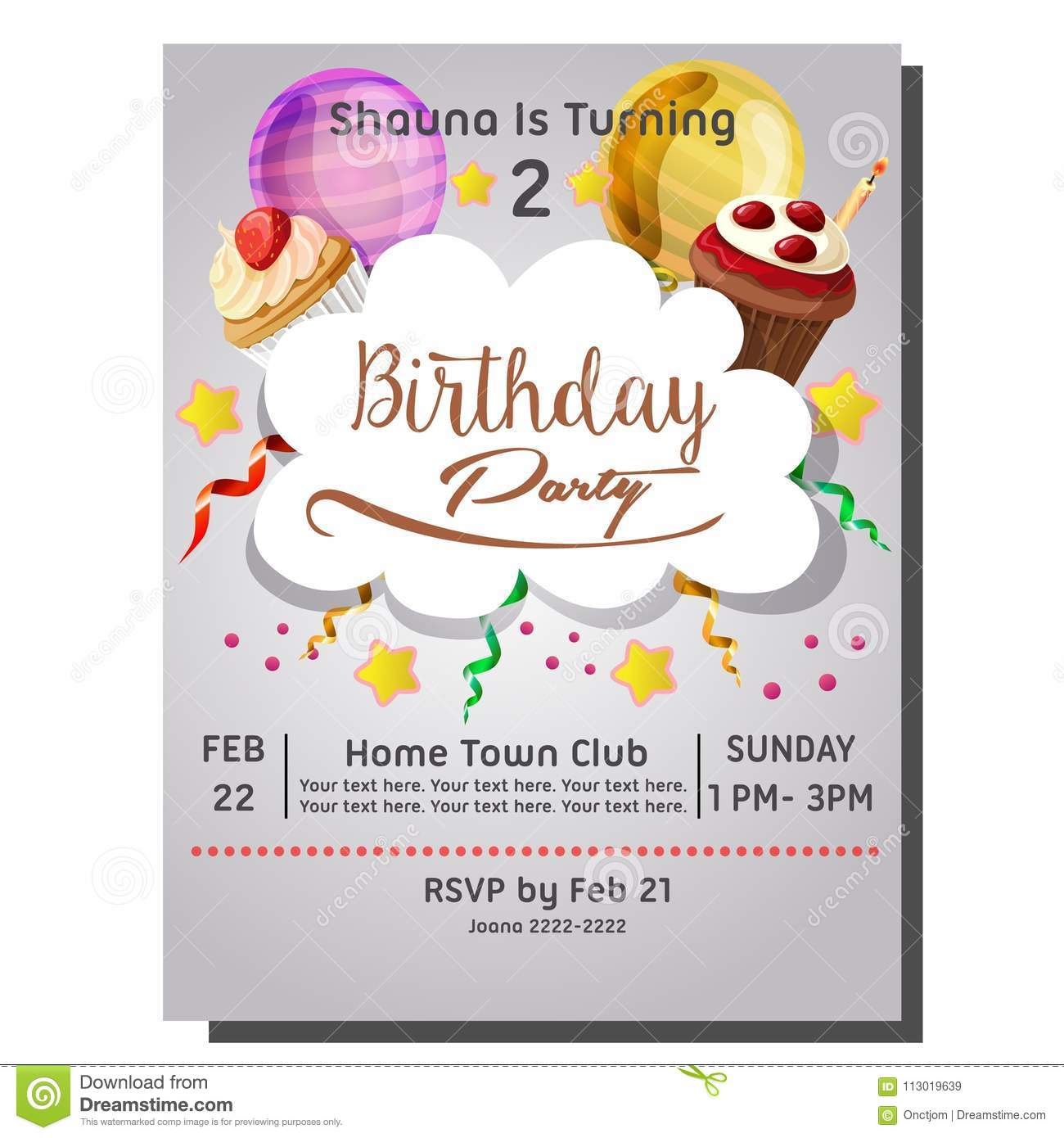 2nd birthday party invitation card with berry cupcake stock vector