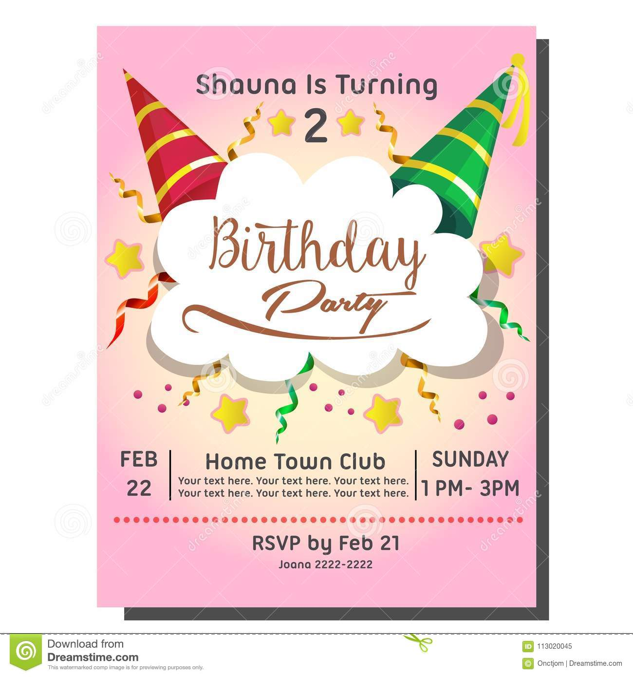 2nd birthday party invitation card with hat stock vector download 2nd birthday party invitation card with hat stock vector illustration of template greeting stopboris Images