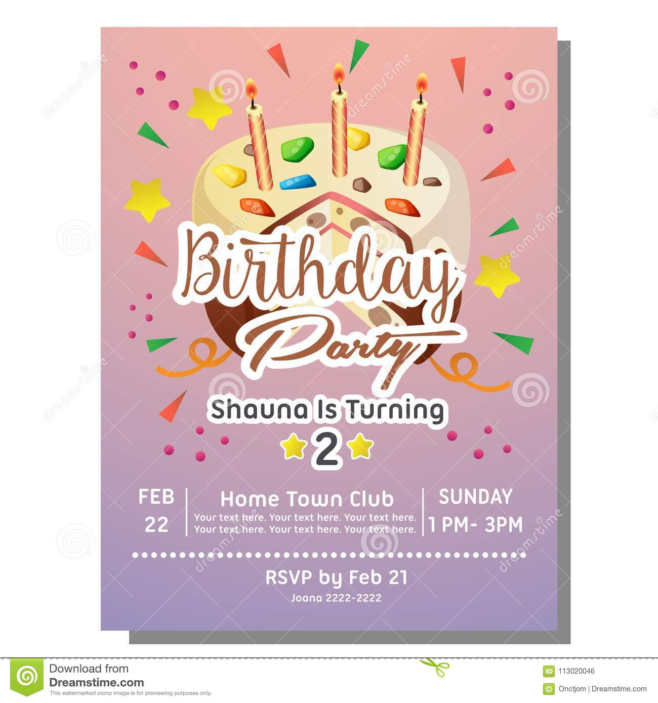 2nd Birthday Party Invitation Card With Sprinkles Tart