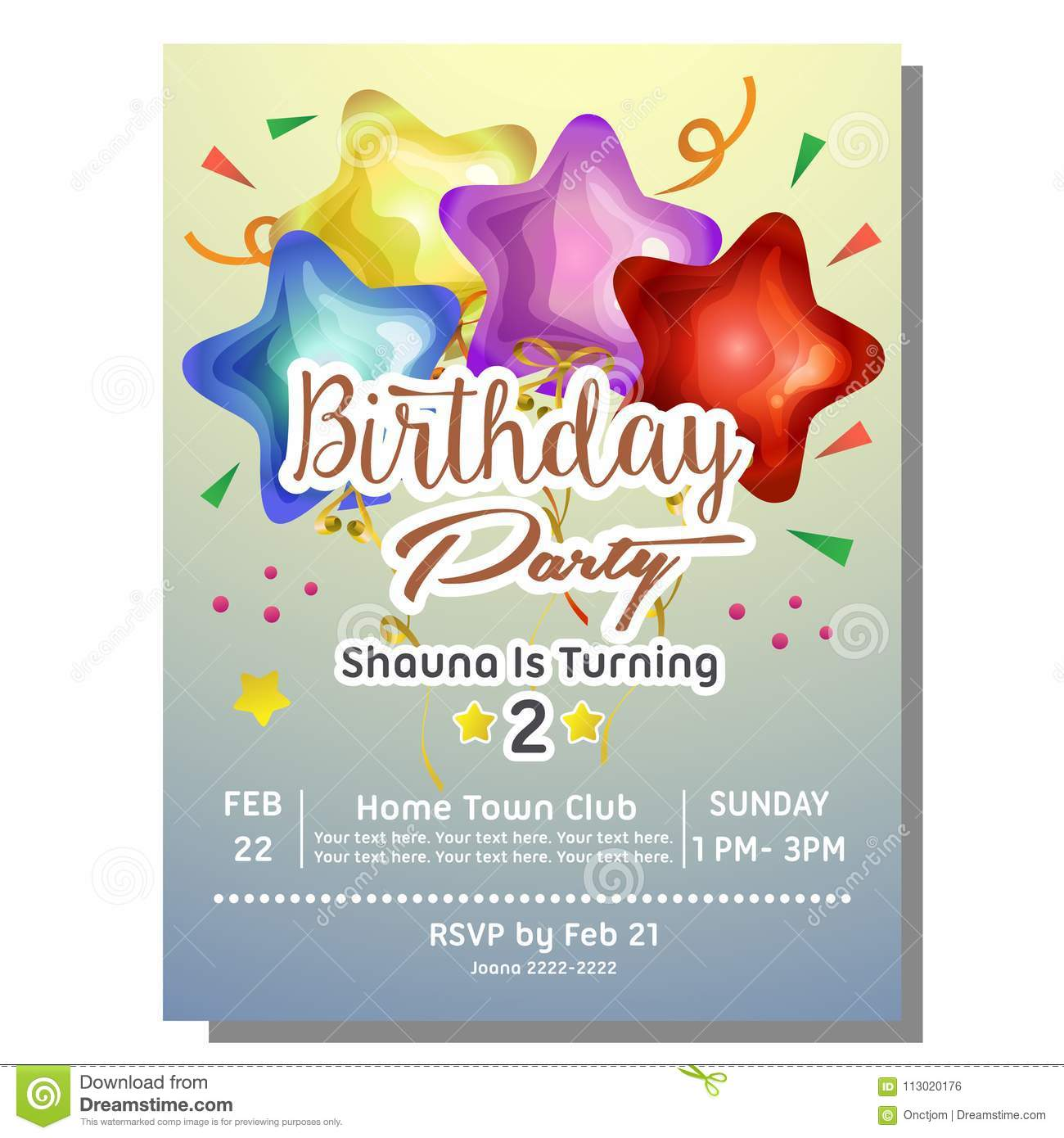 2nd Birthday Party Invitation Card With Star Balloon