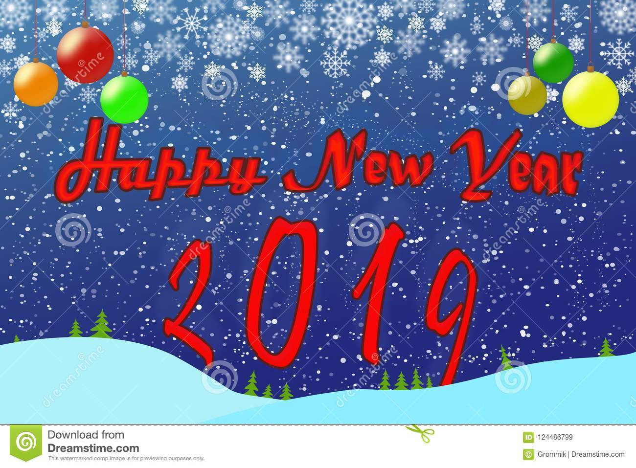 Template For New Year Greetings 2019 Blue Background With Christ