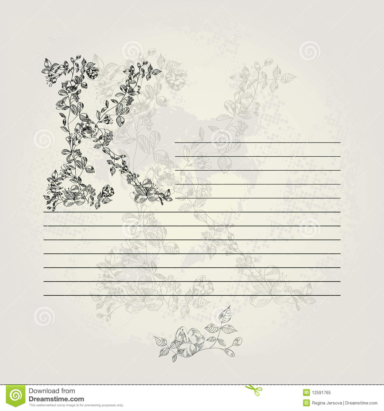 template for note paper with letter k stock vector illustration of