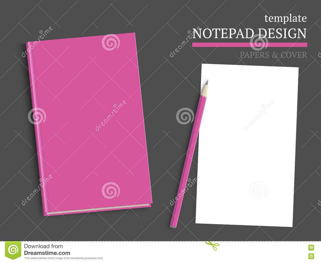 template of notebook cover and papers stock vector illustration