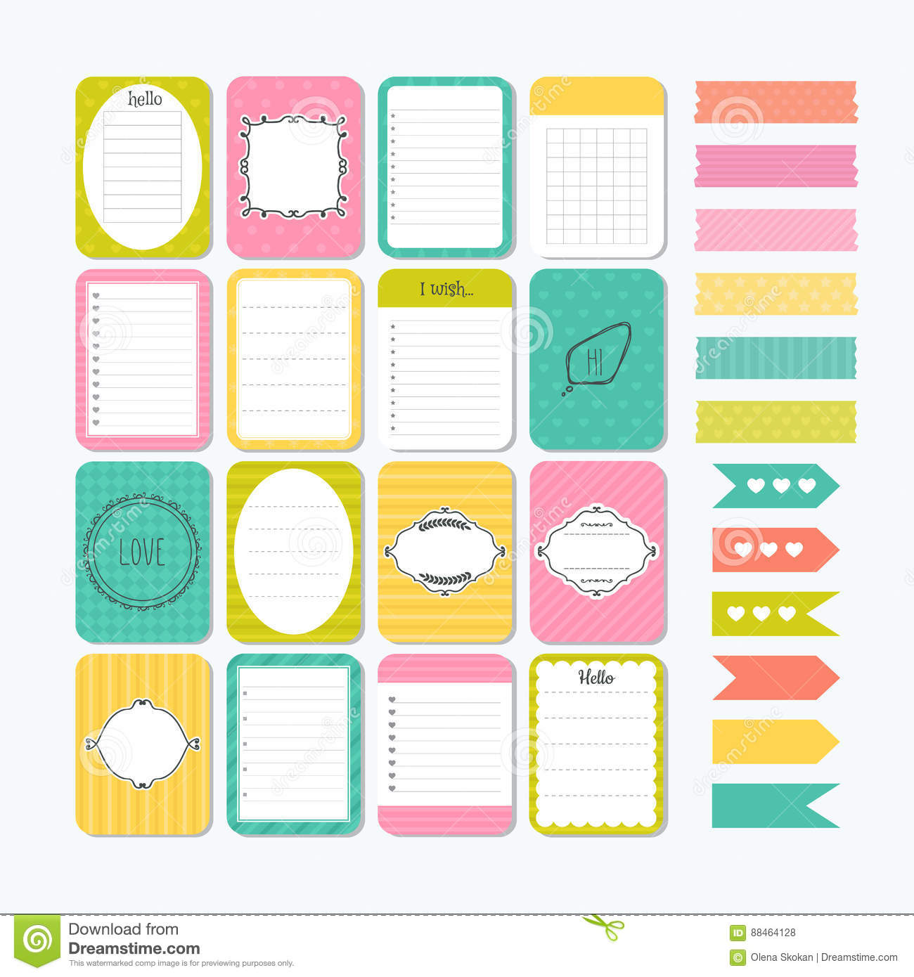 Template For Notebooks  Cute Design Elements  Flat Style