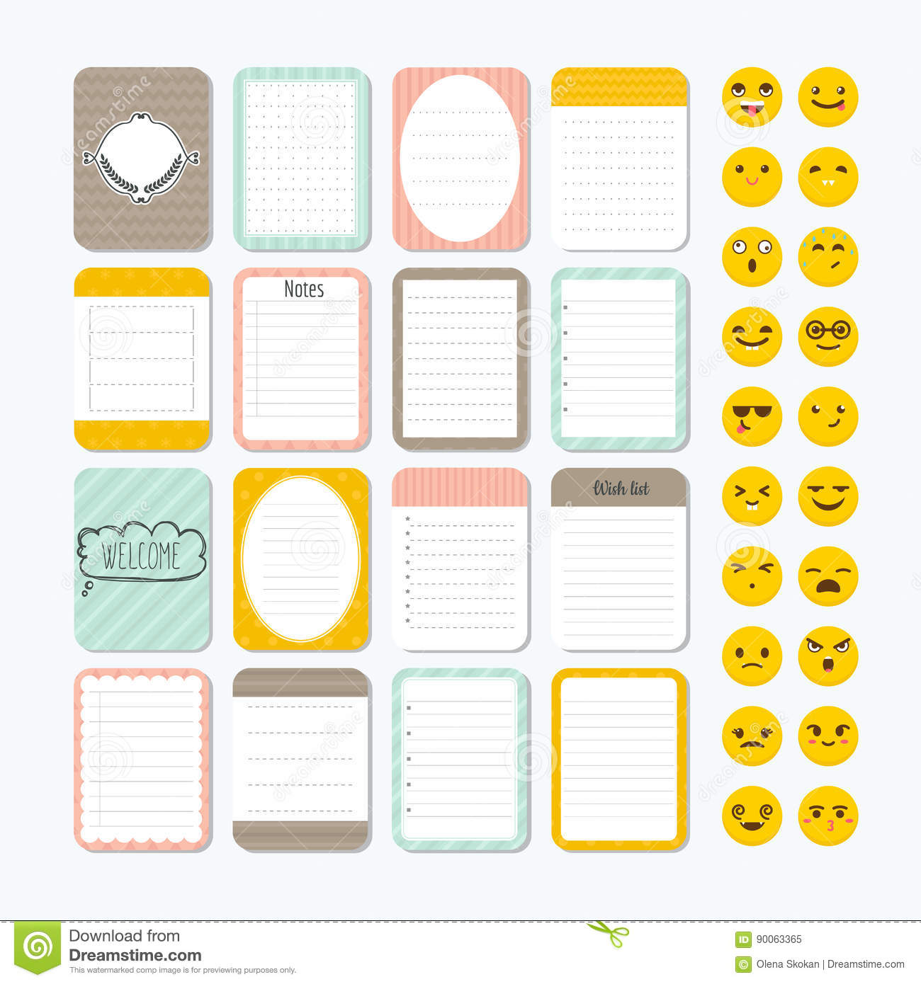 template for notebooks. cute design elements. notes, labels stock