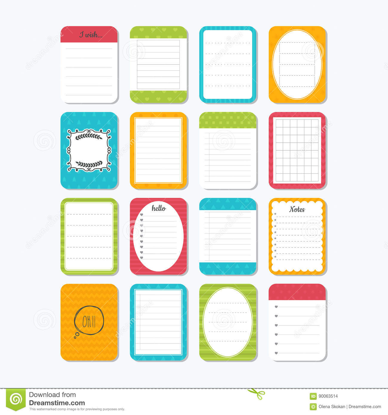 template for notebooks. notes, labels, stickers. collection of