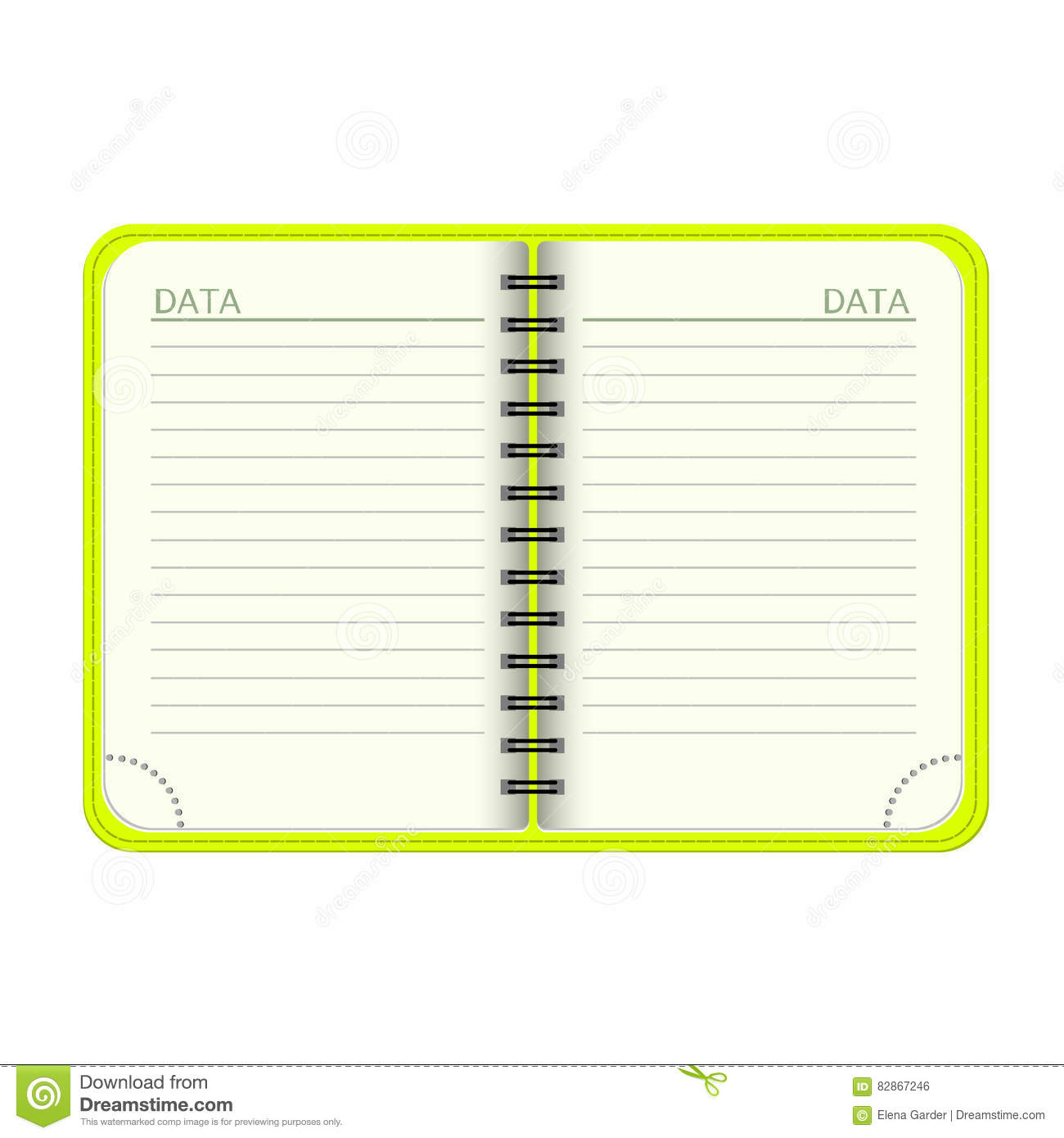 Template Open A Blank Notepad Vector Personal Organiger With A