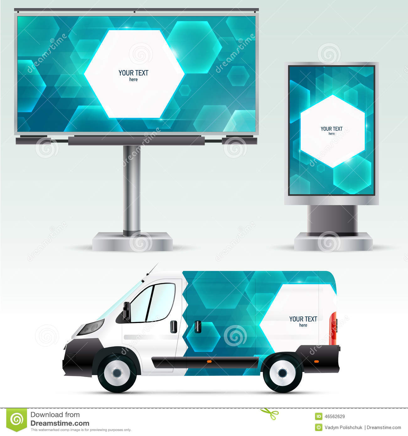 template outdoor advertising or corporate identity on the car billboard and citylight stock. Black Bedroom Furniture Sets. Home Design Ideas