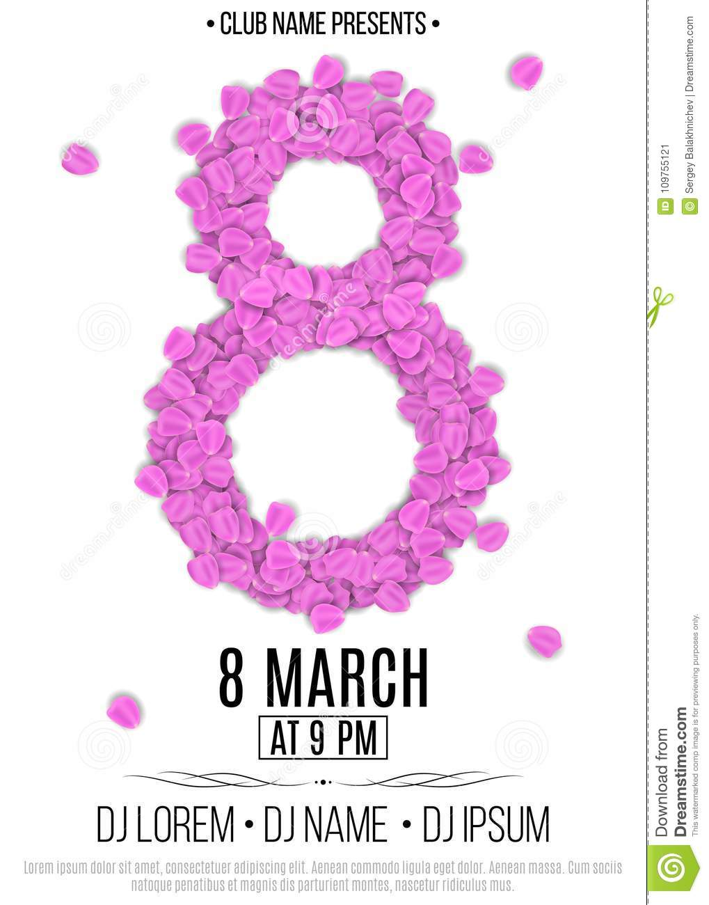 template for party on march 8 invitation card to the night club
