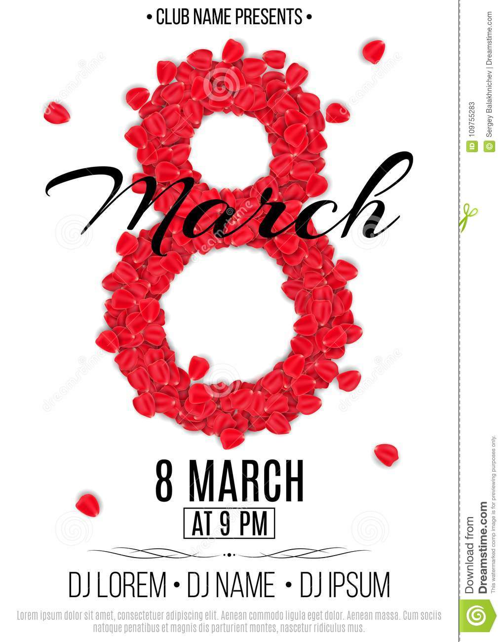 Template For Party On March 8. Invitation Card To The Night Club ...