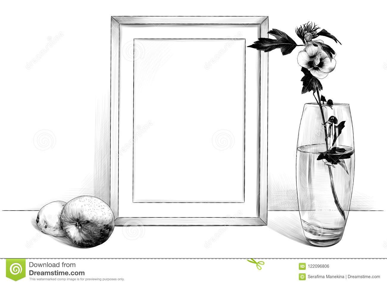template picture in frame standing on the table next to a glass vase