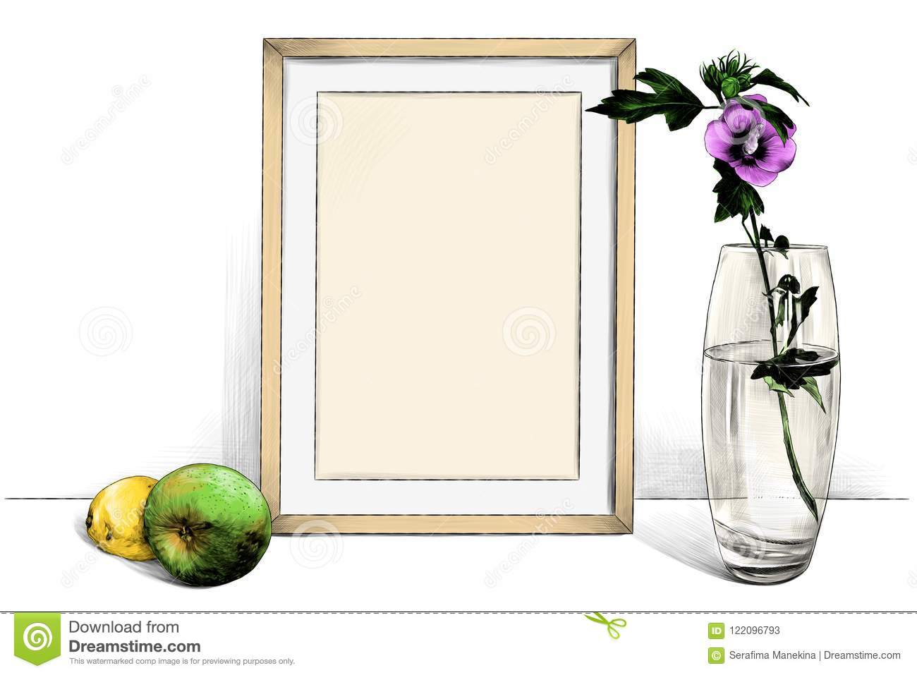 Template Picture In Frame Standing On The Table Next To A Glass Vase ...