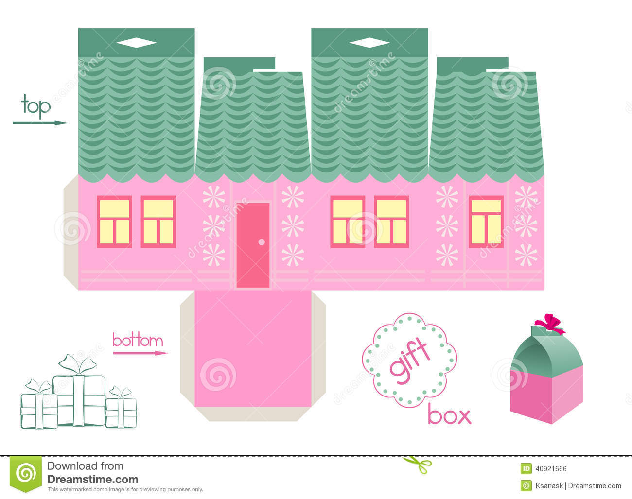 Template For Pink House Gift Box Stock Vector - Illustration of easy ...