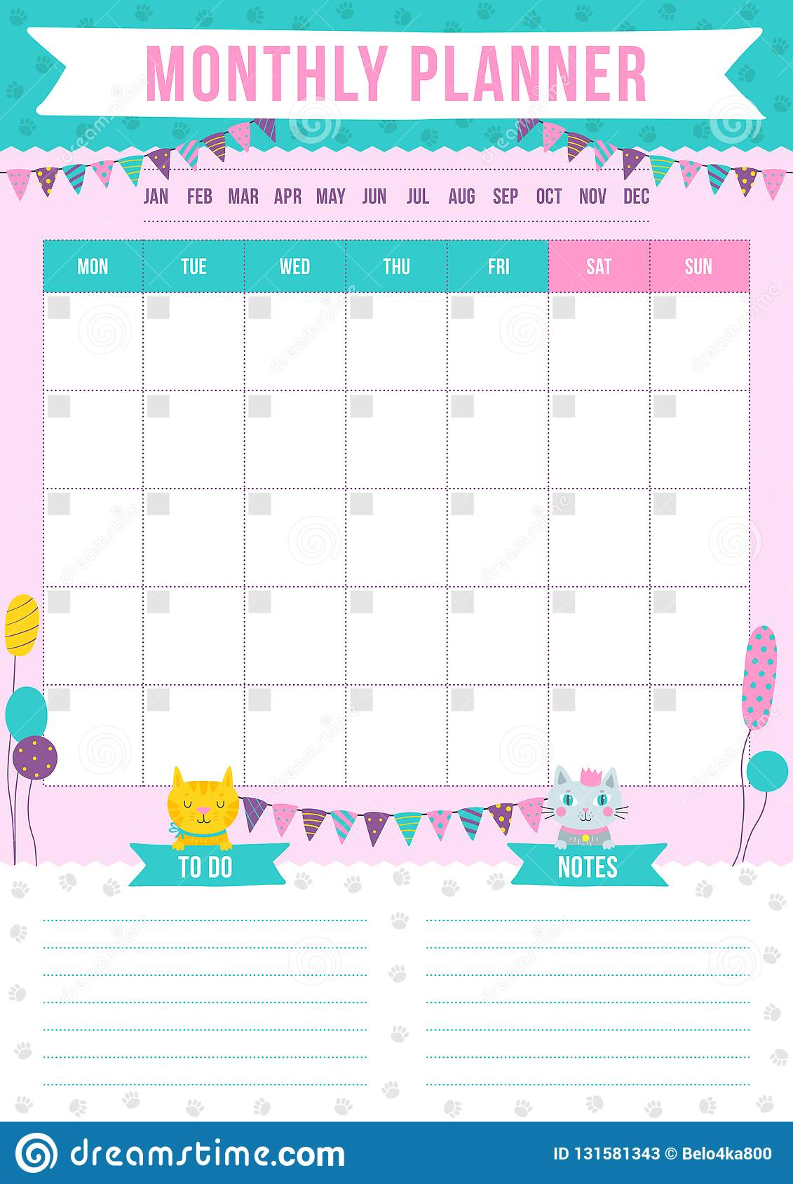 cute monthly planner with drawn cats balloons and garland stock
