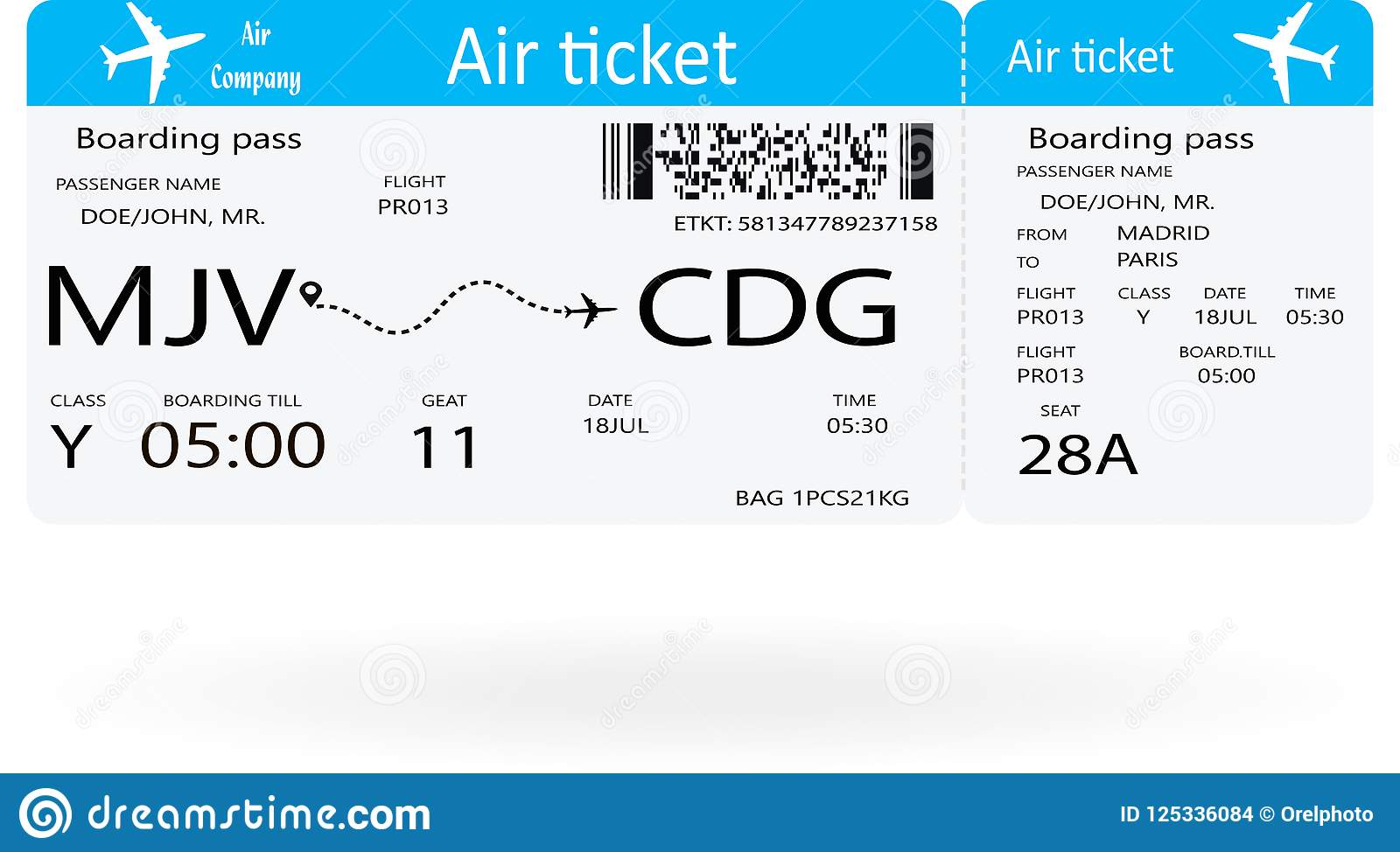 template of plane ticket for business trip stock vector