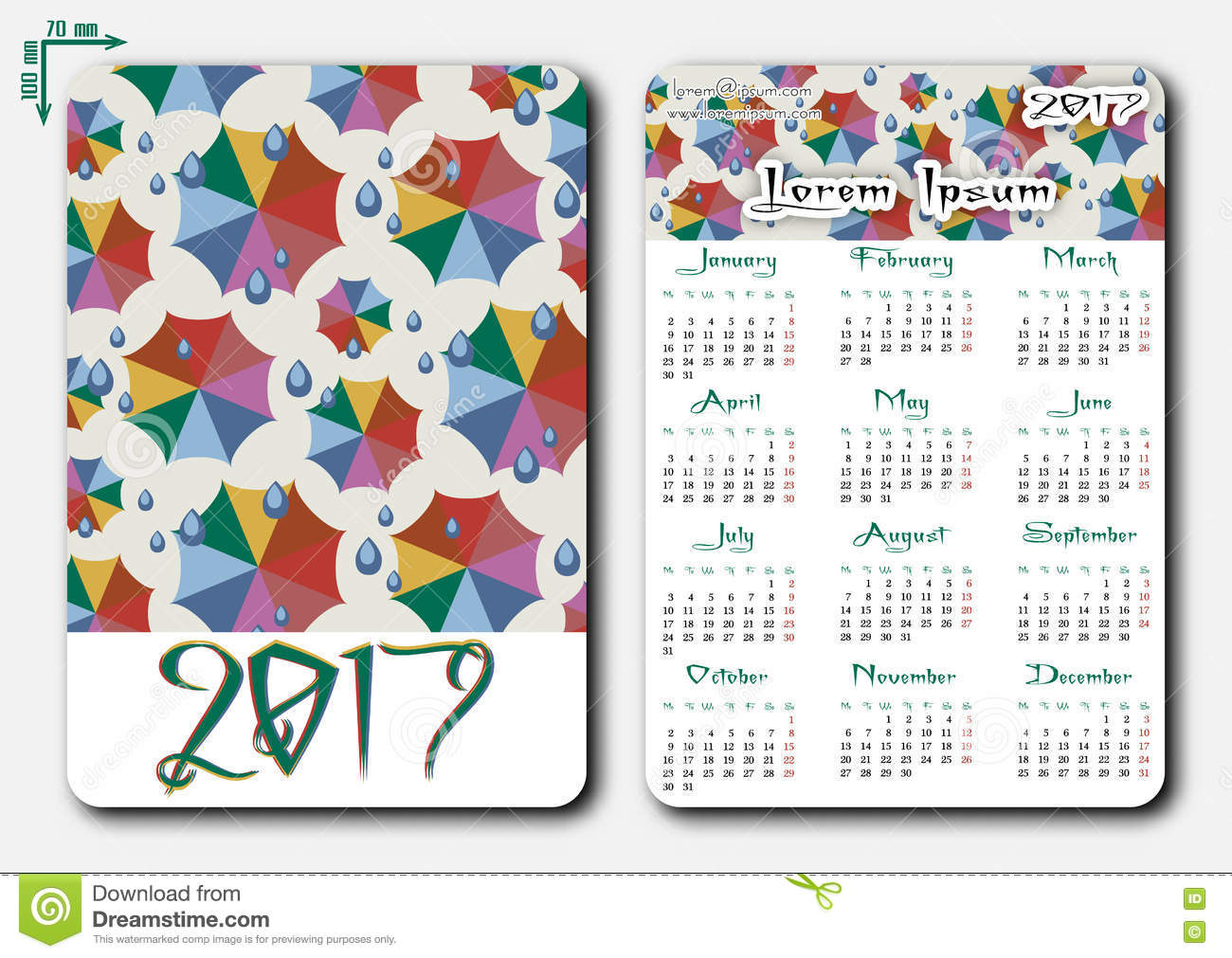 Template Of Pocket Calendar With Grid For 2017 Stock Vector