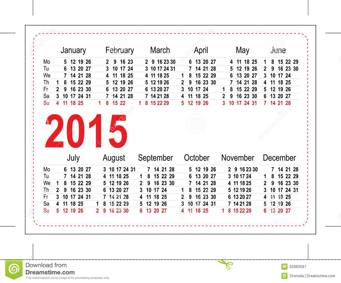 pocket schedule template - template pocket calendar 2015 stock vector illustration