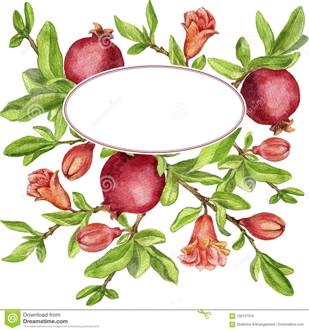 Template With Fruit Tree Branches Leaves Flower And Pomegranates Stock Illustration Illustration Of Growth Background 106727318