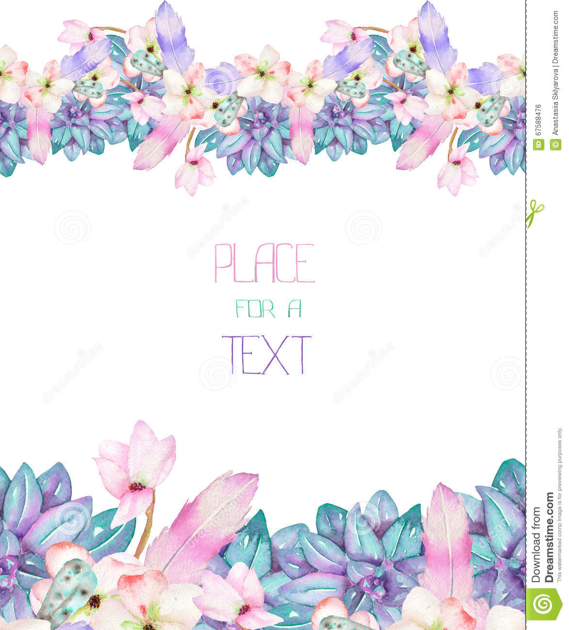 A template of a postcard frame with an ornament of the for Watercolor painting templates free
