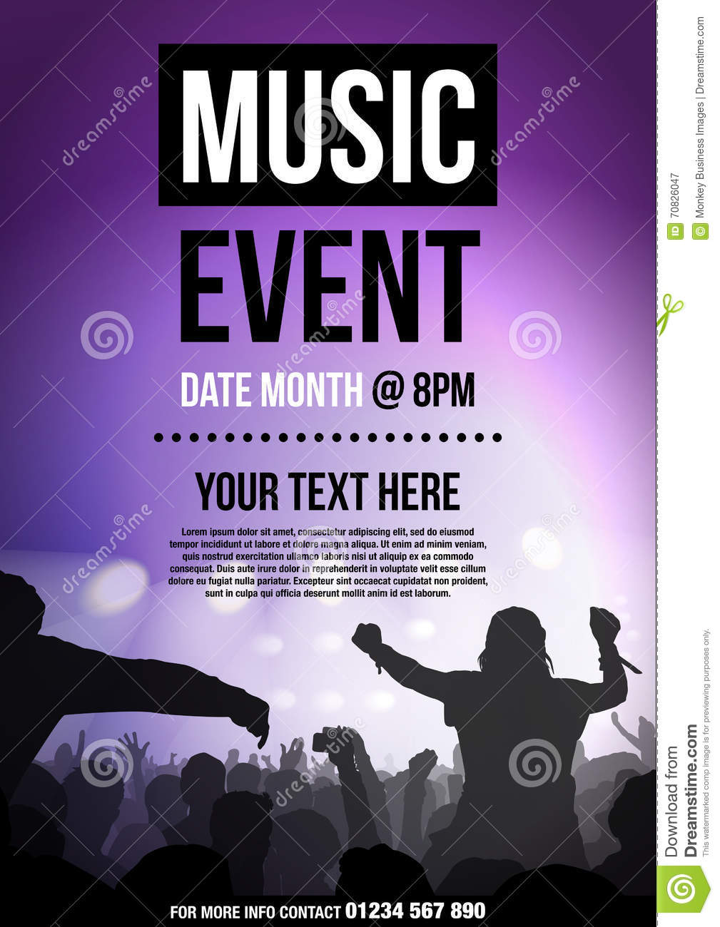 Template For Poster Advertising Music Event Stock ...
