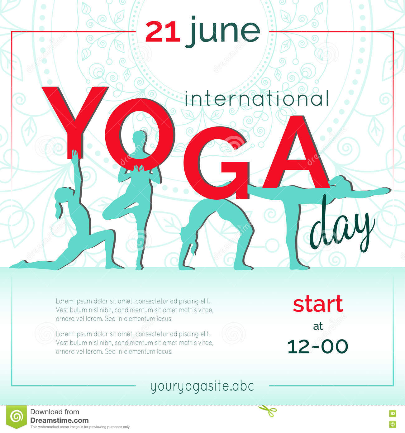 Template Of Poster For International Yoga Day. Stock