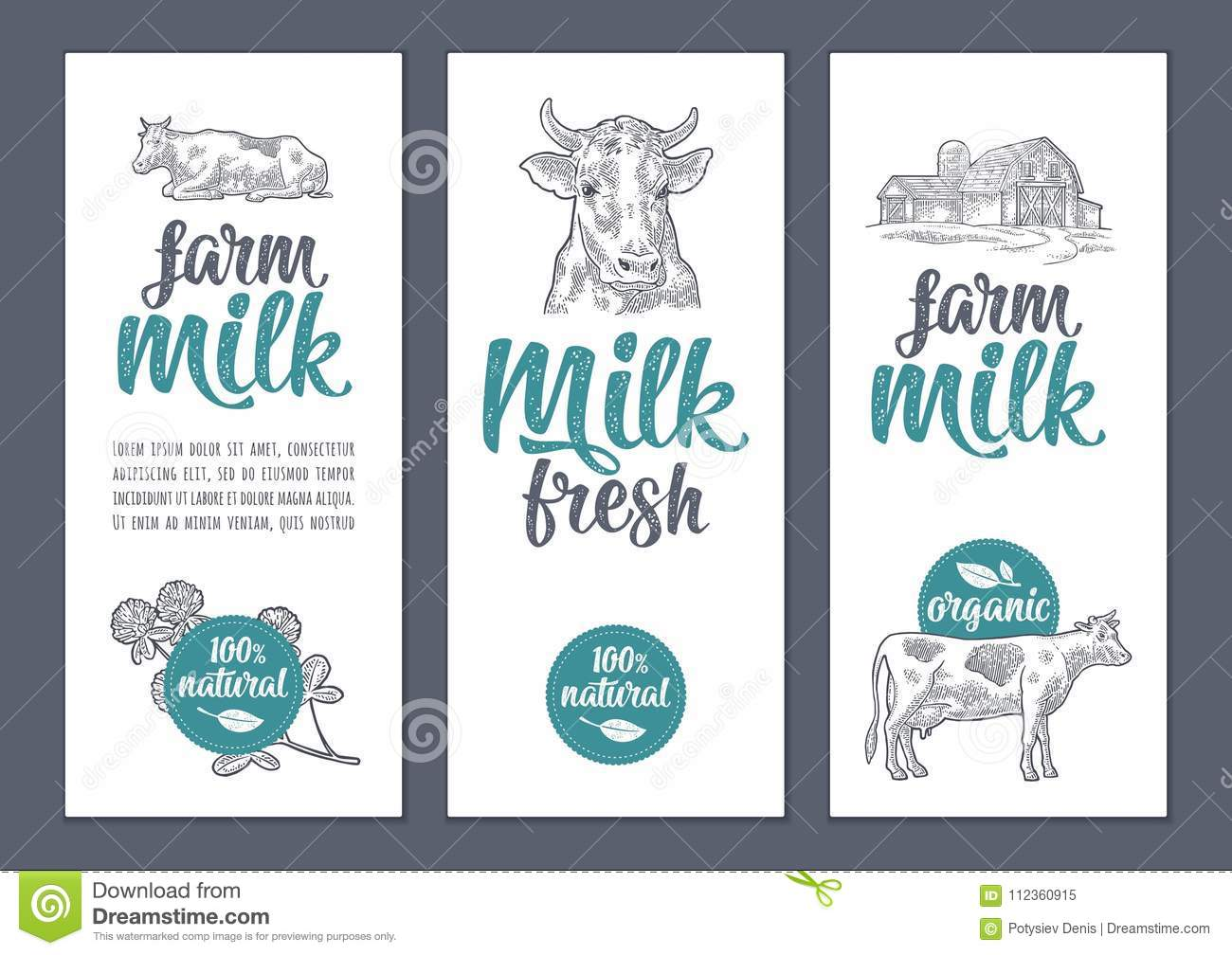 template poster or label with cow and clover farm milk lettering