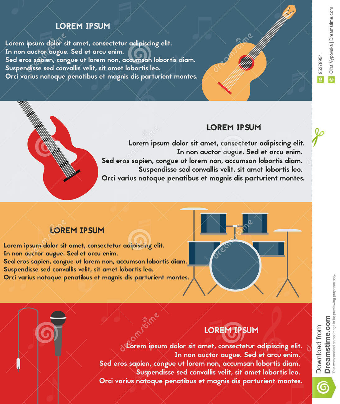 template of poster with musical instruments  stock vector