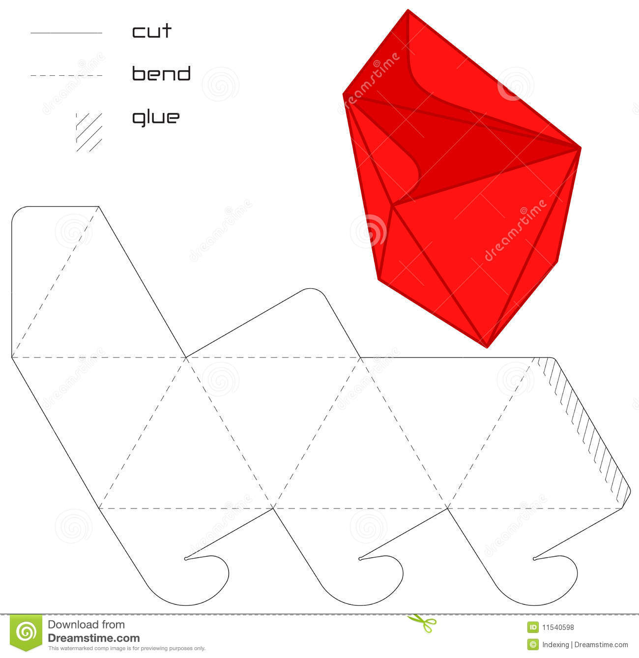 triangle packaging template - template present box red hedra cut triangle stock vector