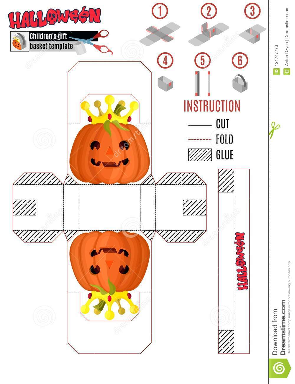 Template For Printing The Children S Package For Halloween With