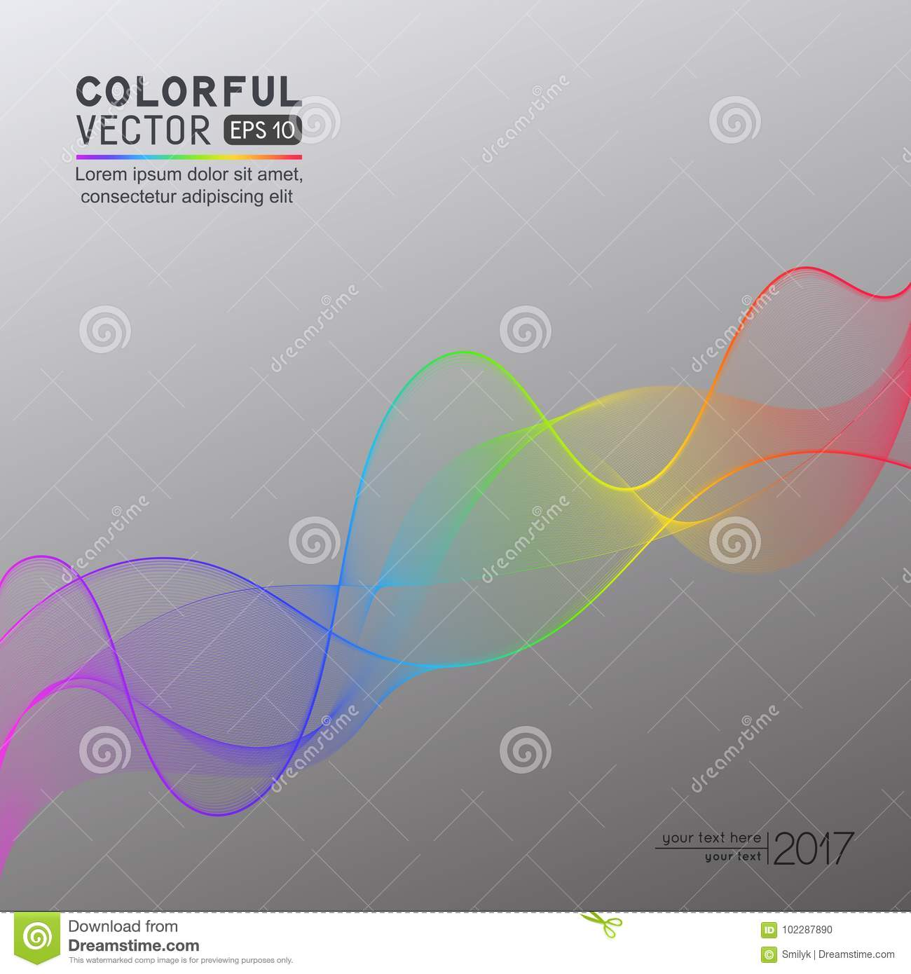 Template With Rainbow Gradient Wave Line For Your Text, Informat ...