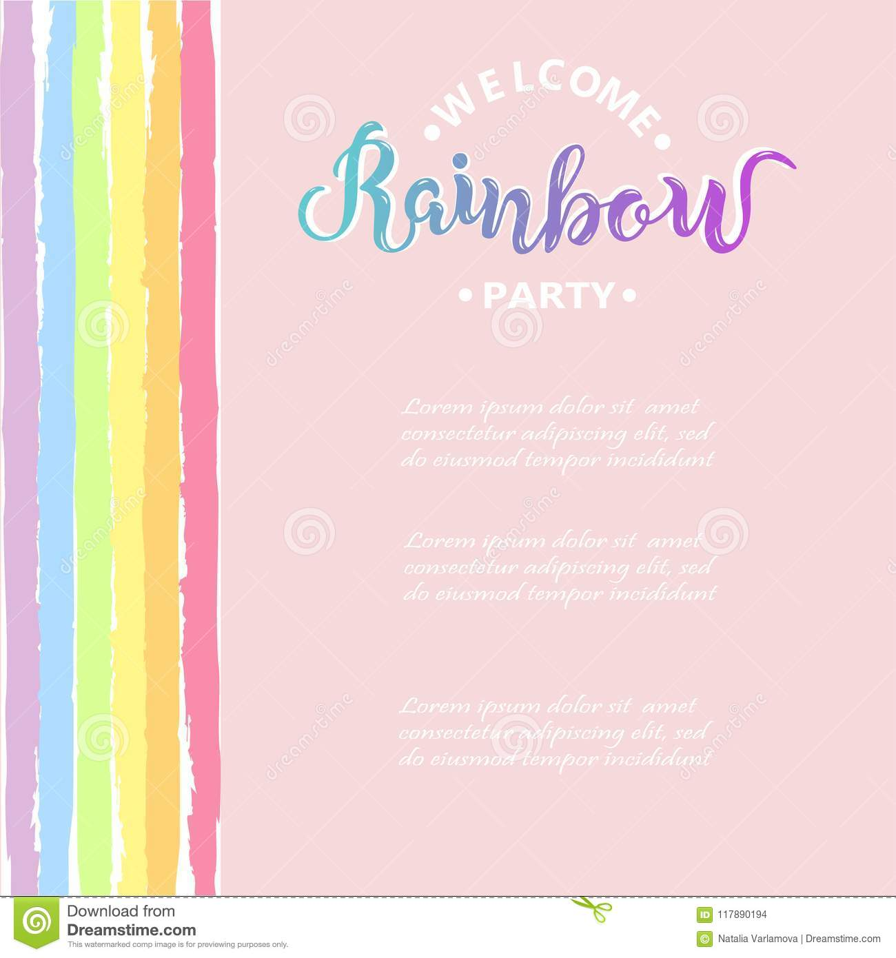 Template For Rainbow Party Stock Illustration Of