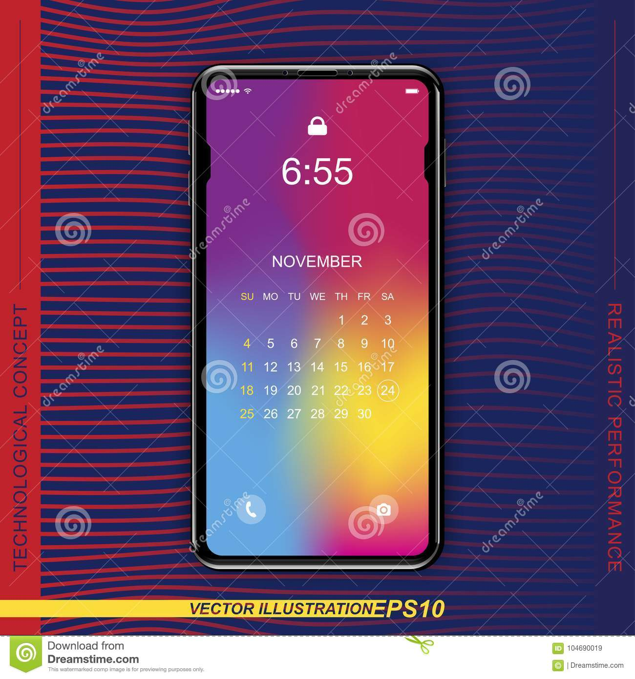 Template Realistic Black Smartphone With A Screen Lock On A Colour Background Phone With Set Of Web Icons And Calendar Flat Vect Stock Illustration Illustration Of Gradient Battery 104690019