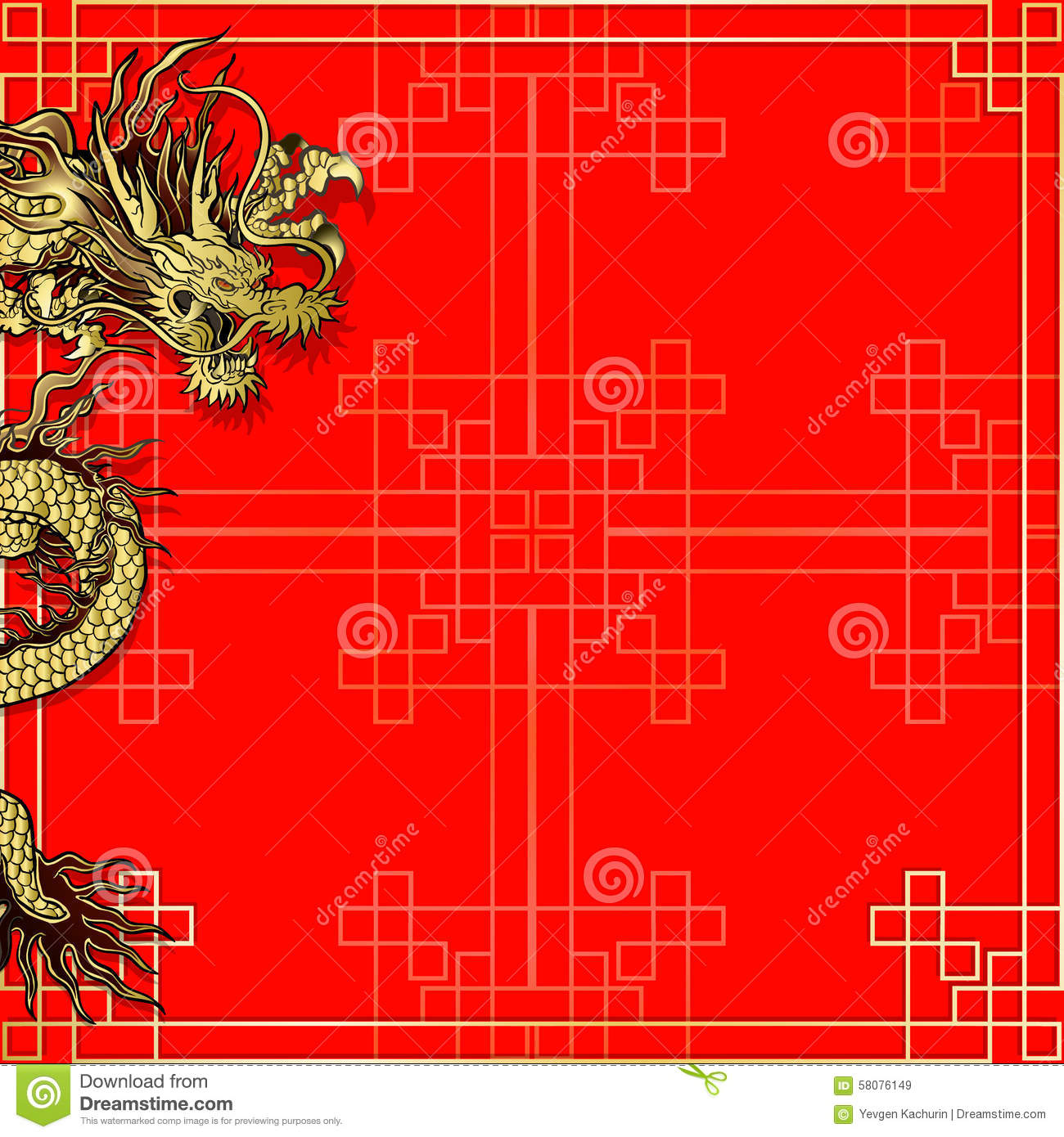template red background with dragon stock illustration image