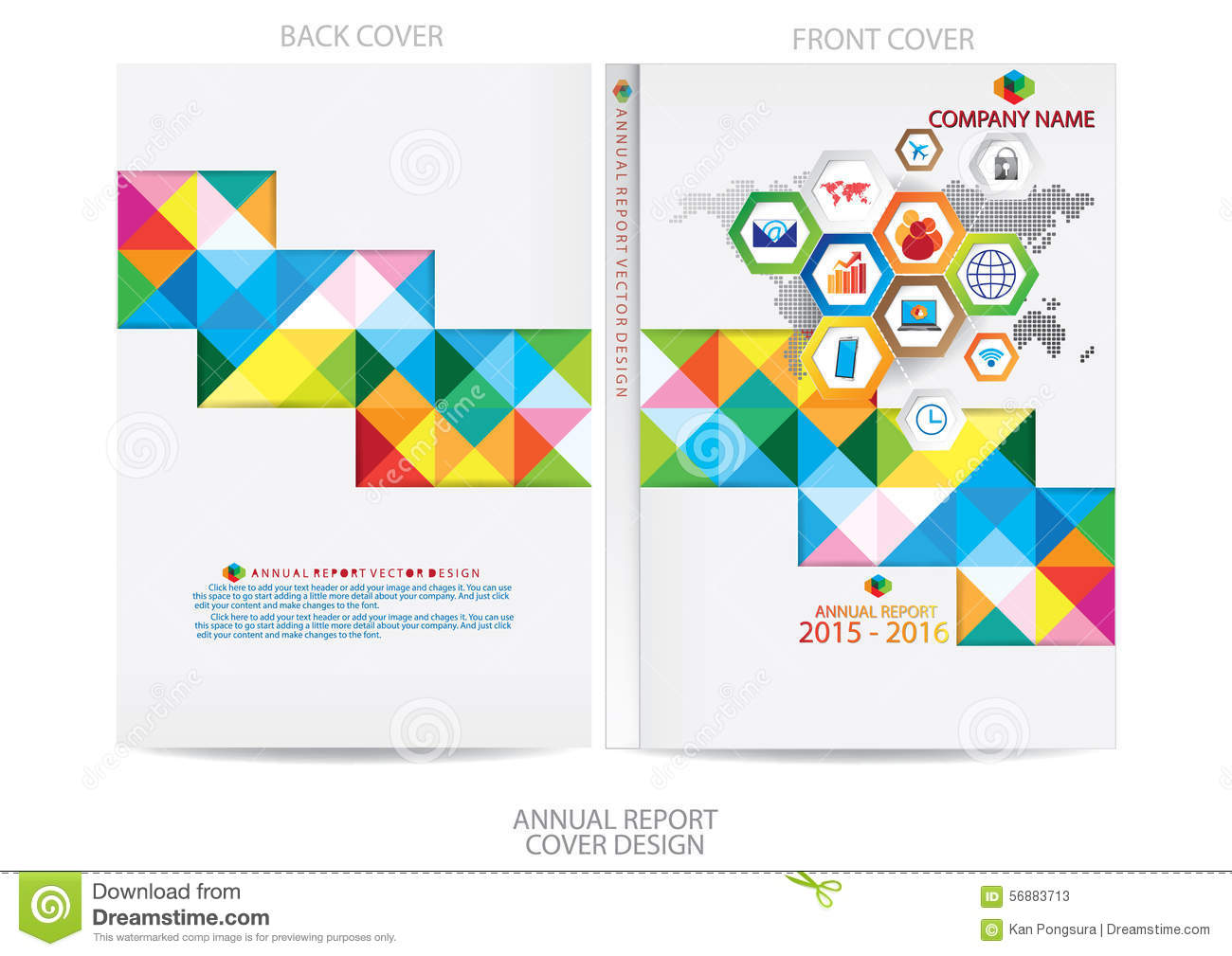 Template Report Cover Design Stock Vector - Image: 56883713