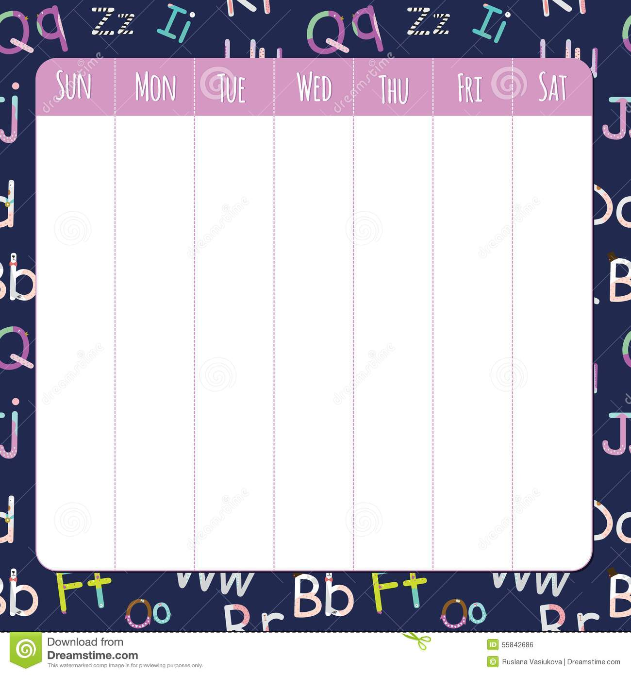 Quotes On School Time Table: Template For School Notebook, Diary And Organizers Stock