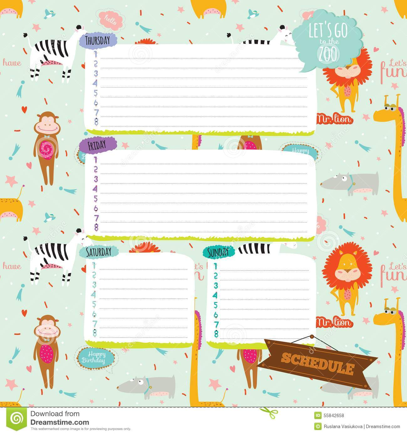 Template For School Notebook Diary And Organizers Stock