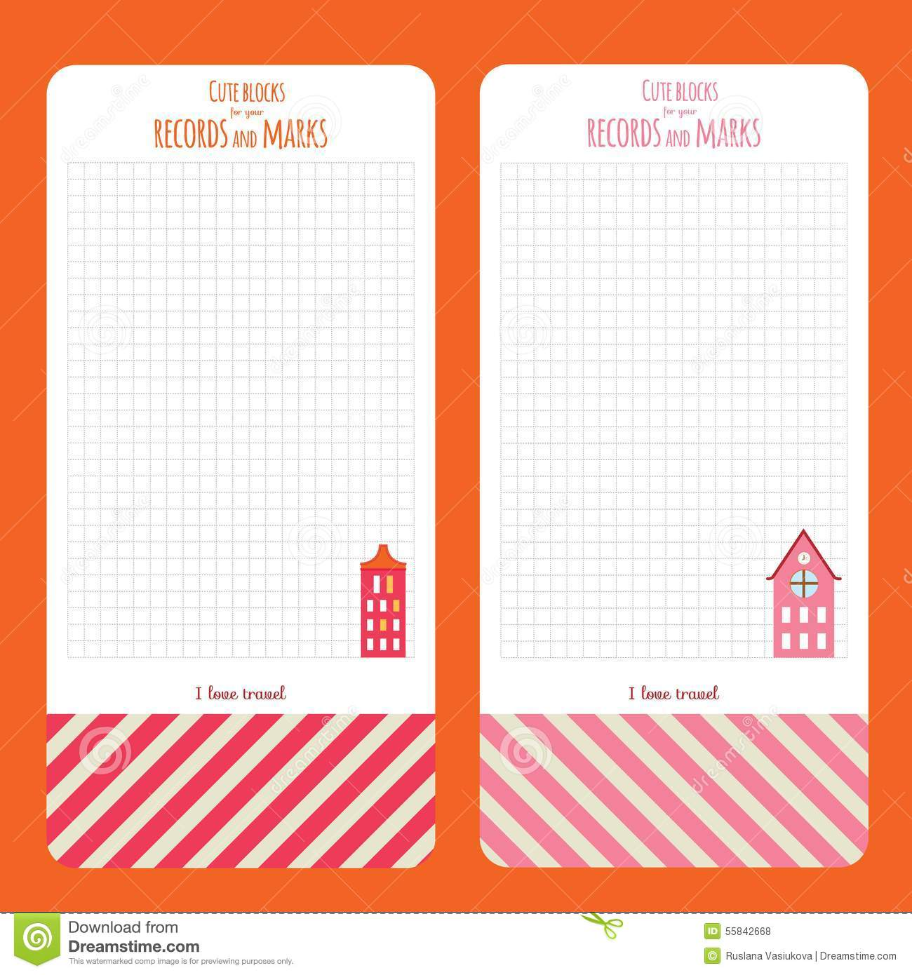 Cartoon Diary: Template For School Notebook, Diary And Organizers Stock